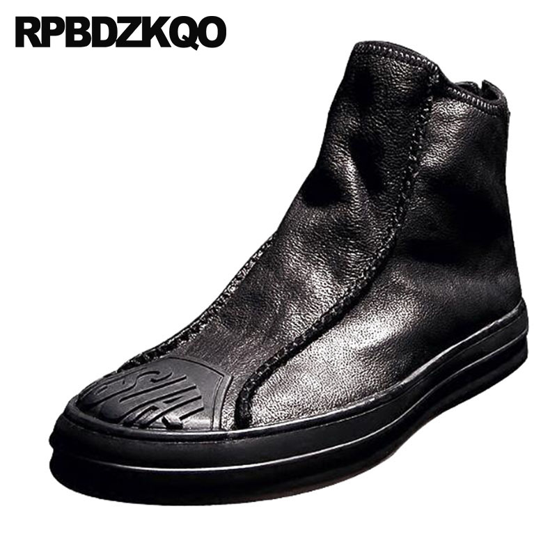 Black Harajuku Ankle Full Grain High Sole Top Boots Thick Soled Trainer Men Slip On Casual Shoes Booties Winter Faux Fur Lined faux fur lined flat ankle boots