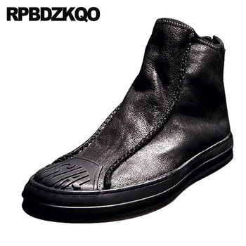 Black Harajuku Ankle Full Grain High Sole Top Boots Thick Soled Trainer Men Slip On Casual Shoes Booties Winter Faux Fur Lined