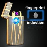 New Fashion Intelligent  USB Electronic Dual Arc Metal Flameless Fingerprint Rechargeable Windproof Cigarette Lighter
