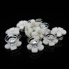 цена на 100 Pcs Bridal Wedding Prom Ivory Flower Crystal Rhinestone Hair Pins Twister Free Shipping