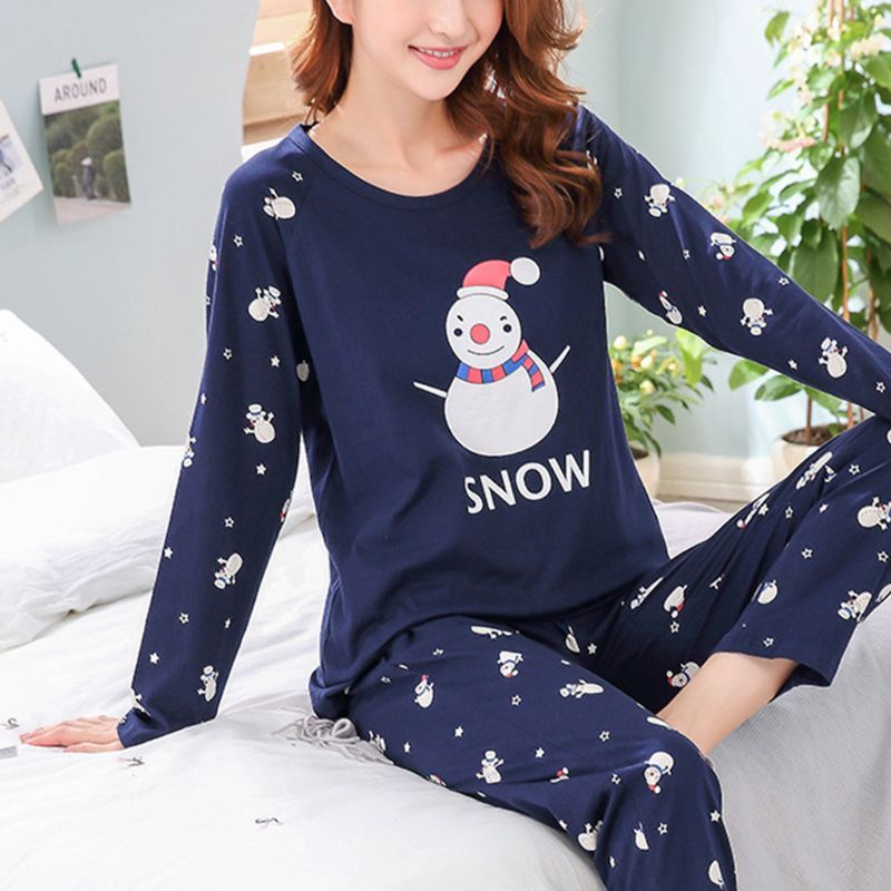 Womens Winter Autumn Two Piece   Pajamas     Set   Long Sleeve Round Neck Tops Cotton Sleepwear Cute Snowman Letters Print Loose Loungew