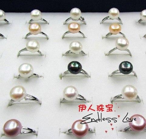 Смешанный цвет! Модные Пресноводные 10-11 мм большие размеры жемчужное кольцо ювелирные изделия, красивые украшения для пальцев Подвески 36 шт./Партия