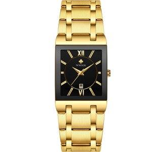 Image 5 - 2019 luksusowe zegarek męski kwarcowy analogowy zegarek na rękę WWOOR 8858 człowiek prostokątne ze stali nierdzewnej biznes zegarek Relogio Masculino # c