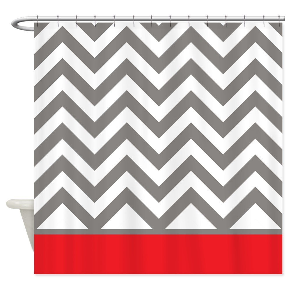Gray Chevrons and red stripe Shower Curtain Decorative Fabric Shower Curtain