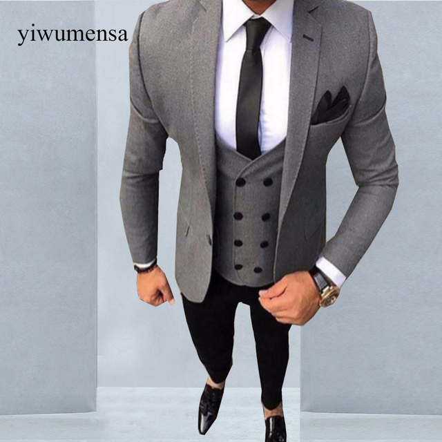 Ywms 19 Tailored Smoking Grey Men Suit Slim Fit 3 Piece Tuxedo Groom Wedding Suits