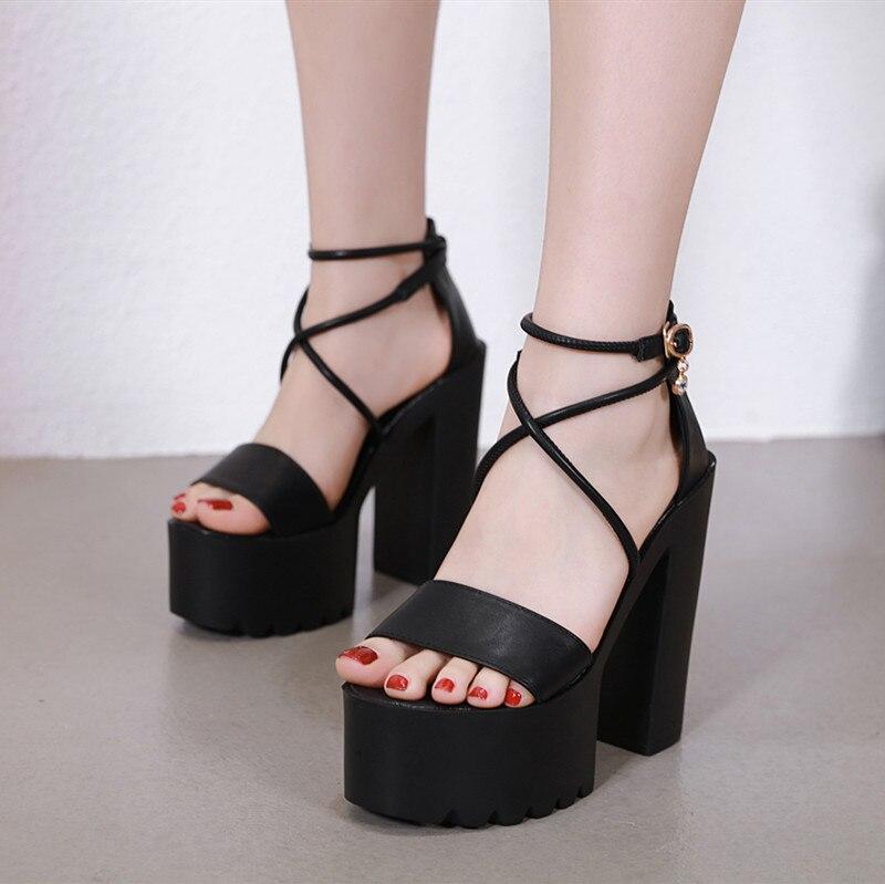 14 cm sandales à talons hauts été 2019 noir bride à la cheville plate-forme gladiateur sandales Sexy femmes Shose