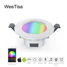Smart LED Downlight Bluetooth RGBCCT 5W AC 110V 220V Dimmable Spot Light APP Control LED Magic Mesh Recessed Light Bulb Lamps e27 smart led bulb lamp light 5w 2700 6500k 110v 220v bluetooth app remote control adjustable brightness and color temperature