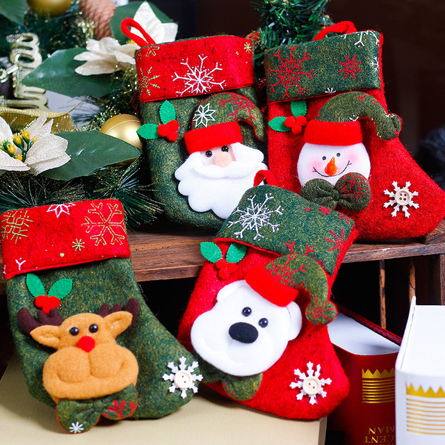 4 pieces lot christmas decoration large gift bags decorated christmas socks gift bags - Wholesale Large Christmas Decorations