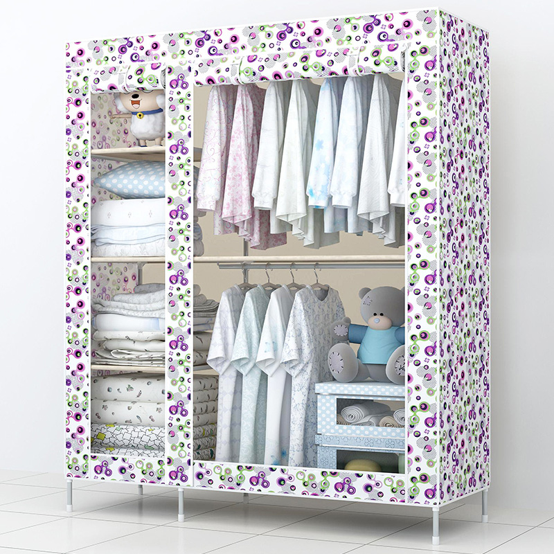 Super simple wardrobe cloth cabinet large steel reinforced steel frame combined assembled folding cloth wardrobe font