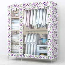 Super simple wardrobe cloth cabinet large steel reinforced steel frame combined assembled folding cloth wardrobe closet