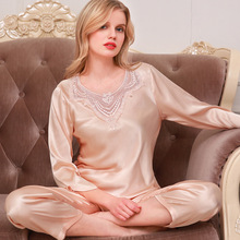 New noble womens spring long sleeve silk pajamas summer thin sexy ice plus size Female Superior Sleepwear Nighty Suit