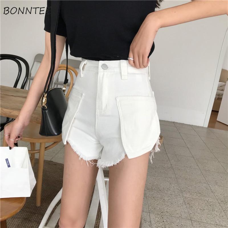 Shorts Women 2019 Stylish All-match School Korean Trendy Summer Womens Simple Leisure Tassel Edging Large Pockets Graceful Denim