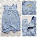 Bebé sin mangas del mono del verano del bebé 100% algodón pequeña manga de la mariposa ropa del algodón del bebé del mono 100%