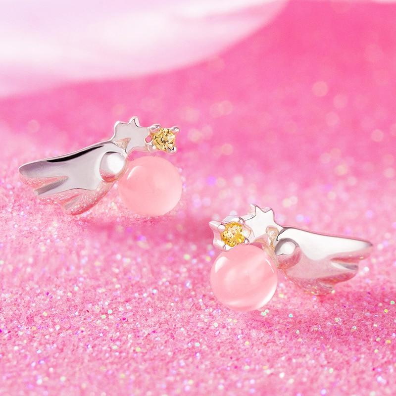 CARDCAPTOR SAKURA Earring Pink Cardcaptor Sakura Charm Earrings 925 Silver Angel Wing Type Jewelry for Women Girl New Year Gift цена