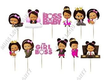 12 шт./лот Boss Детские торт фигурки жениха и невесты; Для новорожденных, для дня рождения, босс тема вечерние торт Топпер торт украшения Baby Shower вечерние поставки