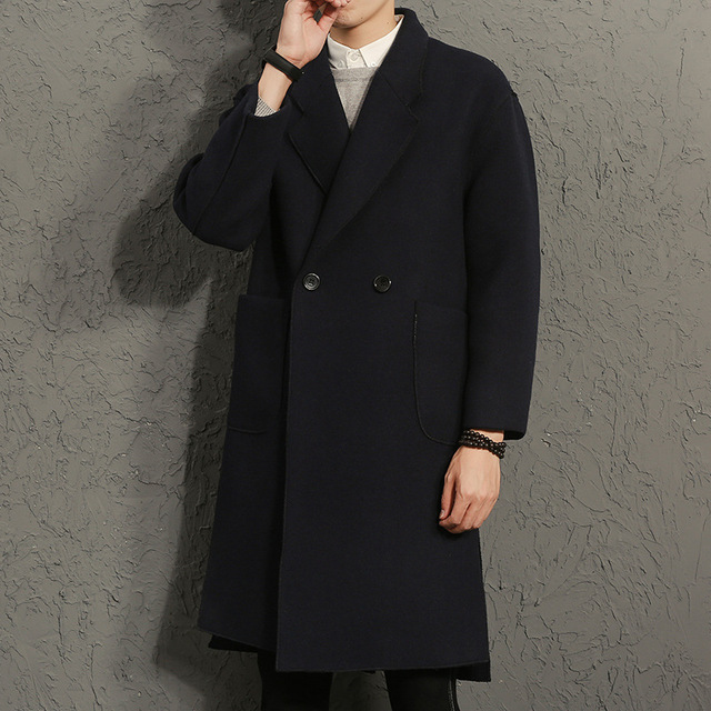 Korean Men Trench Coat Steampunk Gothic Winter Coat Coat Retro Style Wool Jacket Them British Trench