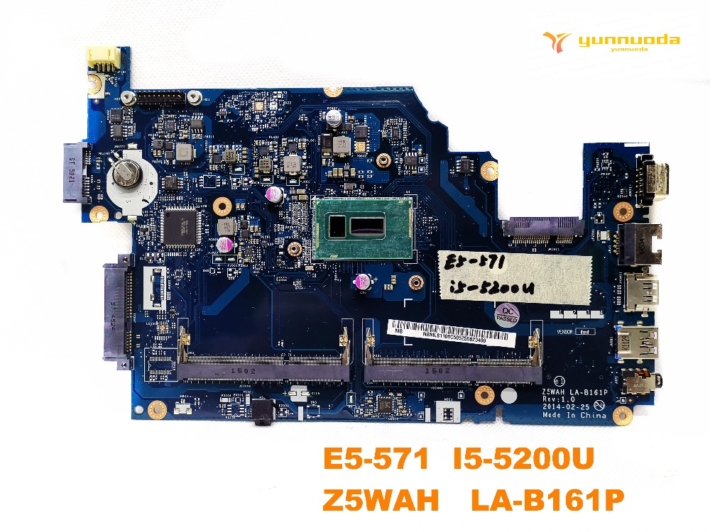 Original For ACER E5-571 Laptop Motherboard E5-571  I5-5200U    Z5WAH   LA-B161P Tested Good Free Shipping