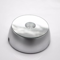 Silver Round LED Plastic Light Base Stand For Jewelry Crystal Lotus Crystal Cube Watch 2d 3d