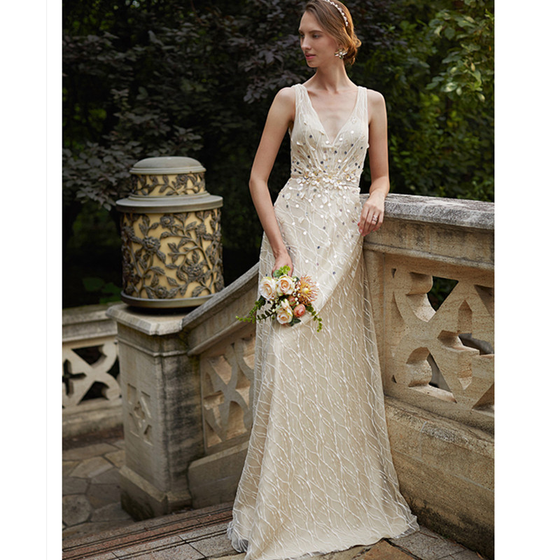 c1b05a7a14 LAN TING BRIDE Sheath Column Wedding Dress Sleeveless V-neck Sweep Brush  Train Lace Sheath Bridal Gown with Simple