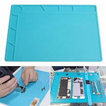 34x23cm Heat Resistant Silicone Pad Desk Mat Maintenance Platform Heat Insulation BGA Soldering Repair Station with 20 cm Ruler цена