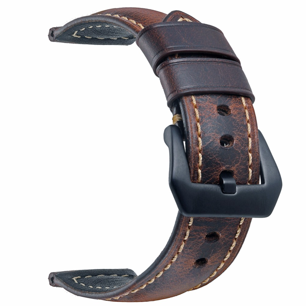 EACHE 20mm 22mm 24mm Genuine Leather Watch band dark brown light brown maroon black Classical Oil-tanned leather Watch Strap