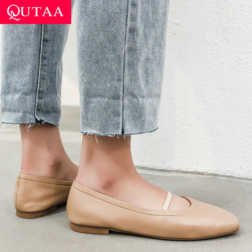 QUTAA 2020 Spring Autumn Women s Vulcanize Shoes Cow Leather pu Fashion Square Heel Low Heel
