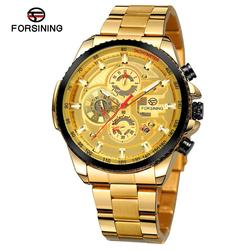 2019 Forsining mężczyźni kalendarz wyświetlacz złoty ze stali nierdzewnej mężczyźni automatyczny zegarek na rękę Top marka luksusowe wojskowy Sport mężczyzna nowy