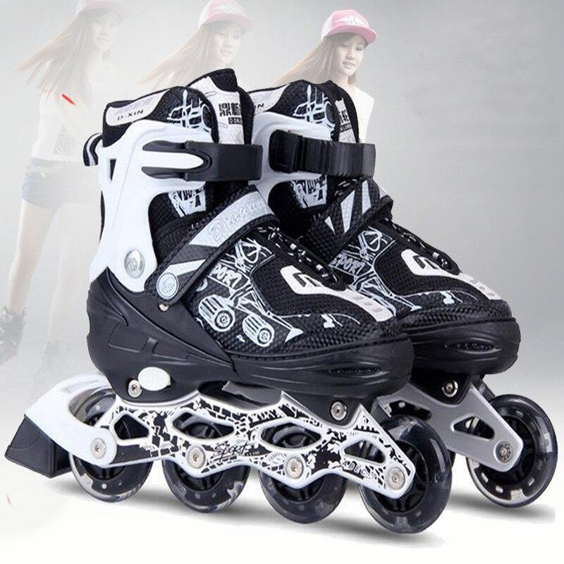 2018 Inline Professional Adult Men Women Slalom Ice Skating Skate Shoes Adjustable Adjustable PU Wheels Adulto 3 Colors vik max hot sale cheap adult white figure hockey skate shoes ice skate shoes with high carbon steel ice blade