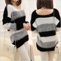 Free shipping cheap hot new Korea loose  winter was thin stripes bottoming hedging mohair sweater thick sweater