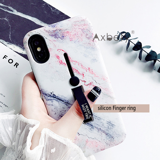 Marble Silicon Ring Phone Cases For iphone