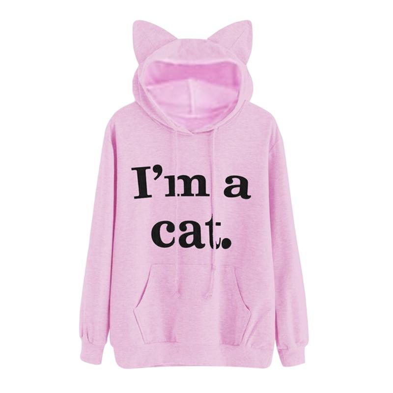 Design I M A Cat Letter Harajuku Women Sweatshirts Pink Kawaii Hoodies Autumn Long Sleeve Pullovers Moletom Black /Red /Gray