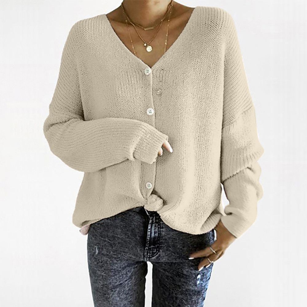 Womens 2018 sweater v-neck loose long sleeve knitting short sweater button outerwear bat shirt sueter mujer tallas grandes