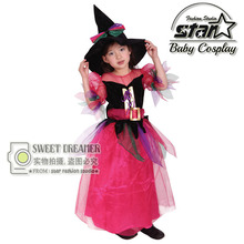 2016 Wizards Costume for Girl Kids Party Dresses Witch Costume Fancy Dress Magician Party Performances Dress