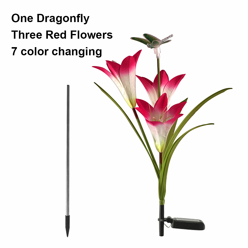 3 Pack LED Fairy Lights Outdoor Lighting Garden ButterflyDragonfly Flower Solar LED Light Decoration Holiday Xmas Wedding Party 7 Colours Change  (13)