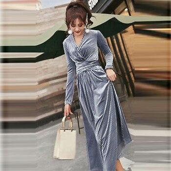 5e2f4b60d 2018 Otoño e Invierno moda de gran oscilación vestidos Casual vestido gris  oro Vintage de terciopelo de cuello-V Sexy vestidos de fiesta LJ2024