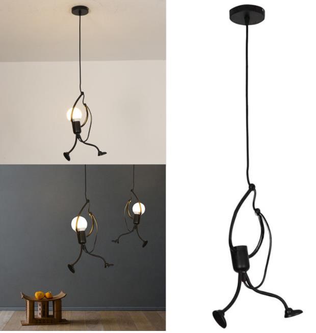 Modern Charming Hanging Chandelier Creative Iron Lamp Elegant Hanger For Home Indoor LightingLittle Man Climbing Decorations