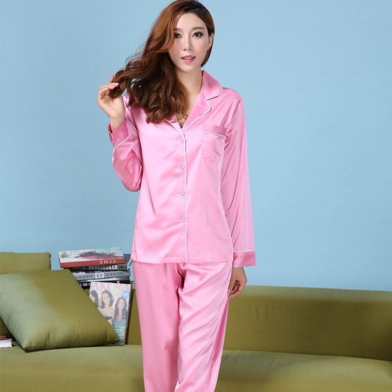 2016 Hot Sell Womens Silk Satin Pajamas Set Pajama Pyjamas Set Sleepwear  Loungewear XS S M L 0cd2fa203