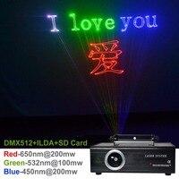 New SD Card ILDA 24CH DMX Kaleidoscope RGB 400mW Laser Animation Projector Stage Lighting PRO DJ