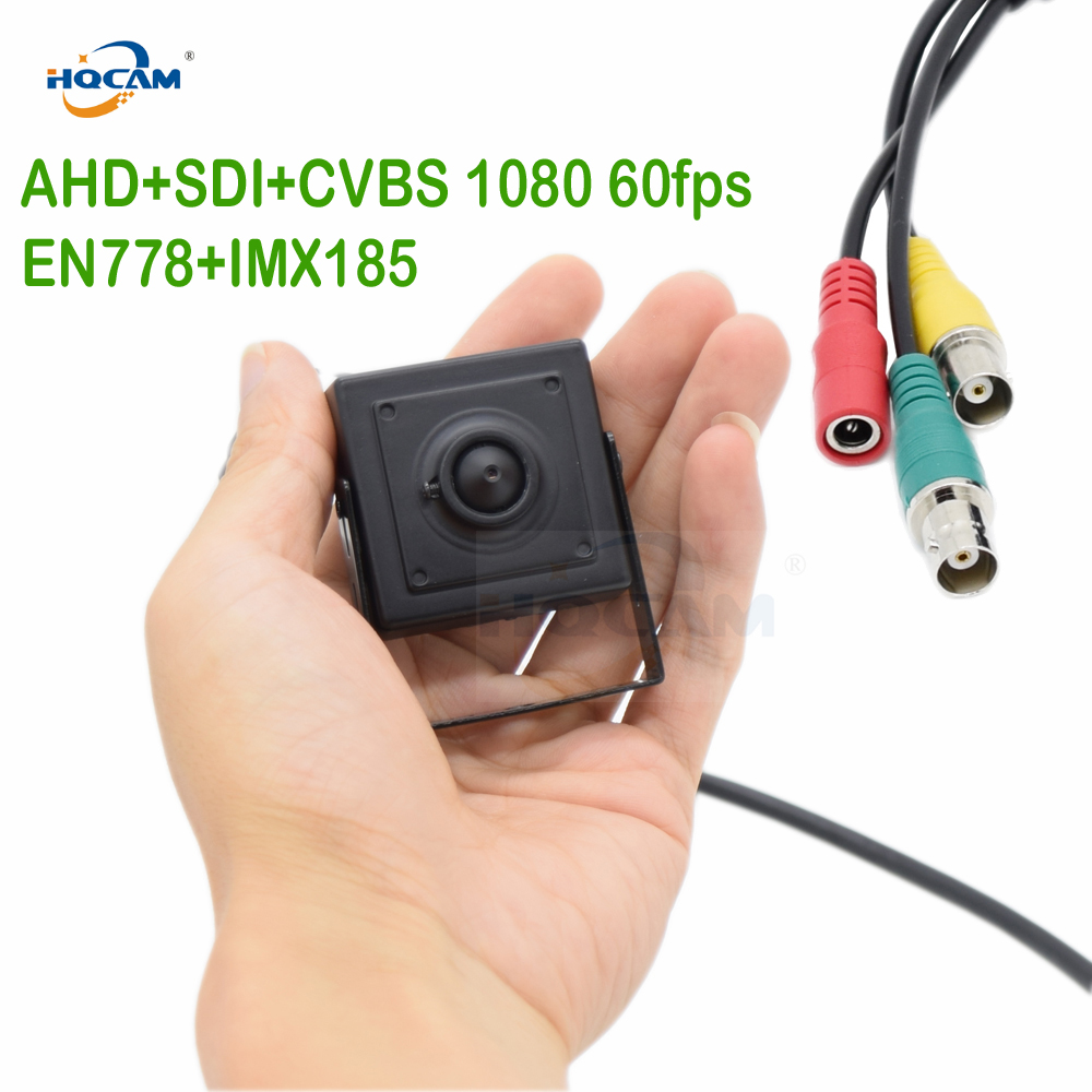 HQCAM Mini AHD Cameera 50fps 60fps AHD+SDI+CVBS Full 1080P HD SDI Mini Box Security Camera Metal Mini Square SDI EN778+IMX185