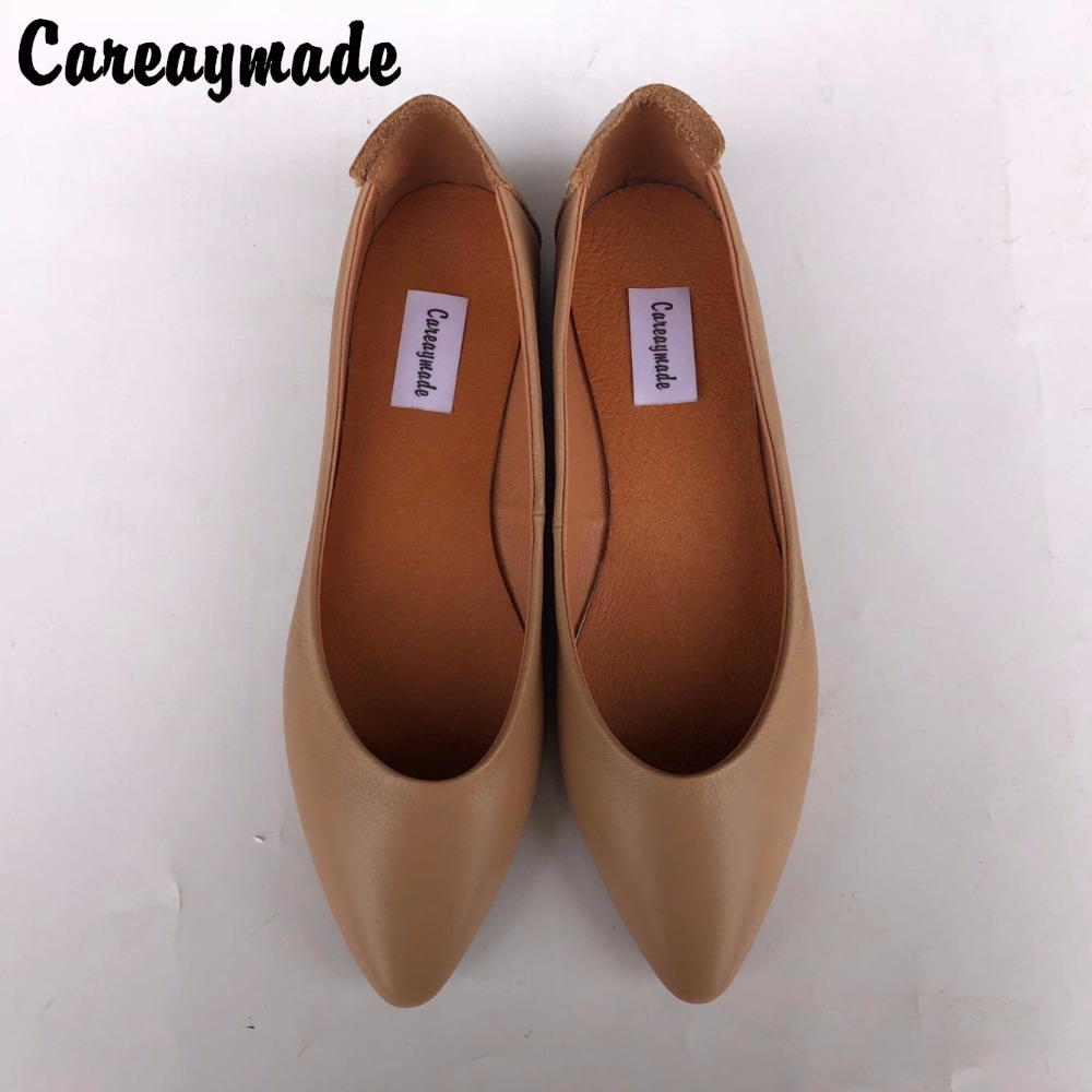 Careaymade-New spring and summer pure handmade Genuine leather female shoes,Shallow mouth flat bottom single shoes,2 colors