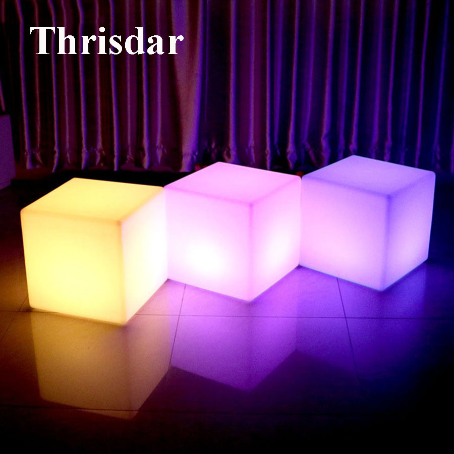 Thrisdar D30CM RGB Led illuminated KTV Bar Cube Chair Light Rechargeable Outdoor Villa Garden Landscape Cube Stool Table Lamp