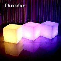 Thrisdar D30CM RGB Led illuminated KTV Bar Cube Chair Light Rechargeable Outdoor Villa Garden Landscape Cube Stool Table Lamp