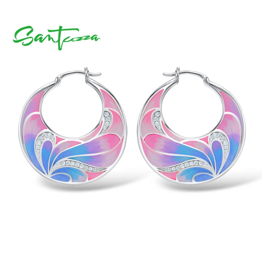 SANTUZZA Silver Earrings For Women 925 Sterling Silver Flower Earrings Silver 925 White Cubic Zirconia Fashion