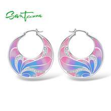 Santuzza Zilveren Oorbellen Voor Vrouwen 925 Sterling Zilveren Bloem Oorbellen Zilver 925 Wit Zirconia Mode sieraden Enamel