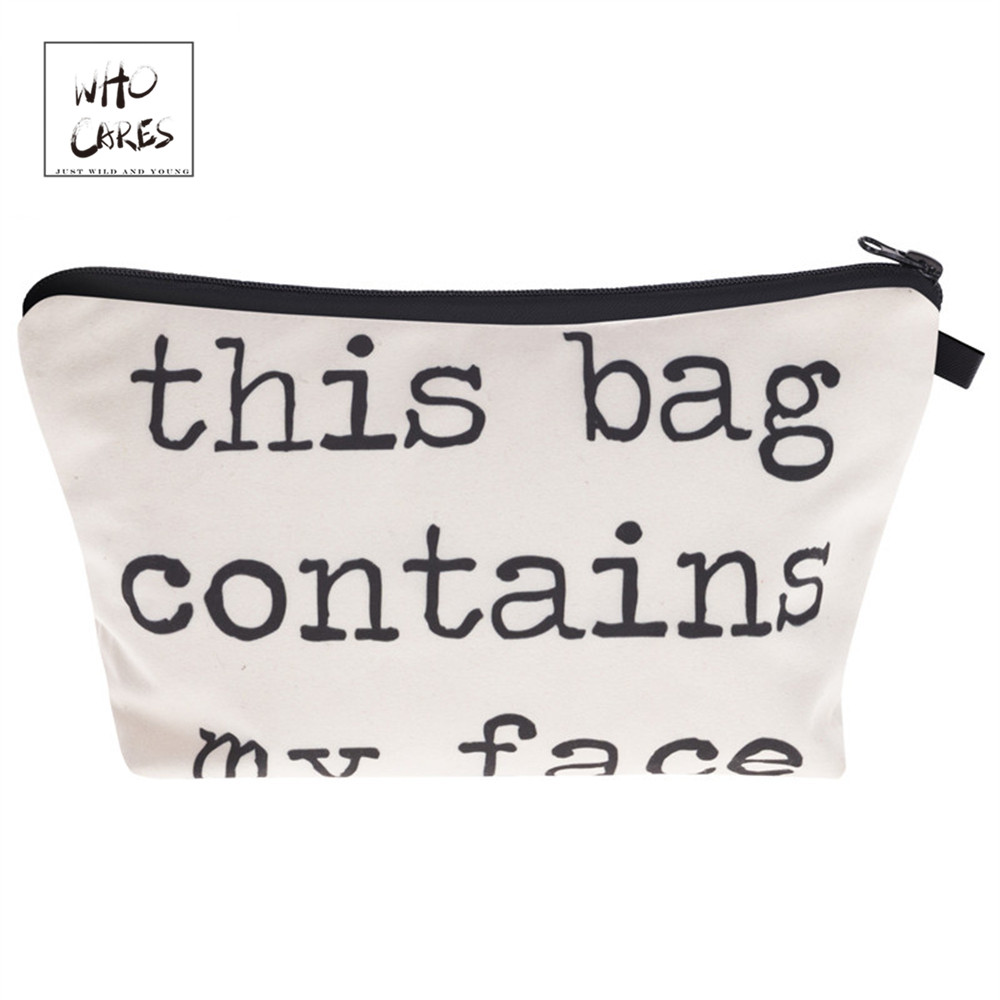 Who Cares printing character Makeup Bags Cosmetic Organizer Bag Pouchs For Travel Lady