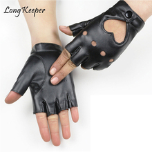 High Quality! Leather Women's Dancing Gloves Black Ladies Gloves For Party Show Fingerless Mittens guantes mujer By Long Keeper