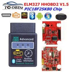 ELM327 V1.5 Bluetooth HH OBD2 ELM 327 HHOBD2 samochodów skaner diagnostyczny ELM327 działa na Android Symbian Windows