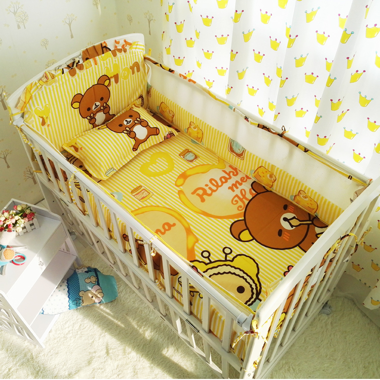 cartoon summer bedding Sets Crib Baby bumpers 100%Cotton 6pcs/set Bed Around protector crib bumpers / Bed sheet / pillowcase