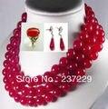Venda quente> aNoblest TRANSPORTE Rápido de preços Por Atacado 10mm Natural Red Jade Colar Brinco Anel Conjunto (A0511)-a noiva de jóias