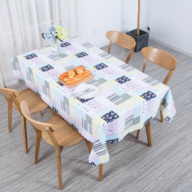 Waterproof Pvc Plaid Table Cloth Cover Flowers Nordic Tablecloth Coffee Furniture Dustproof Home Decor Hotel Wedding